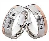 frencheis Verlobungsringe Eheringe Trauringe Edelstahlringe mit Zirkonia und Ihrer persönlichen Lasergravur H131