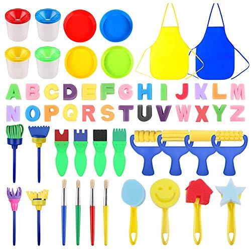 MYCreator Kinderen Spons Schilderpenseel Tekening Set Verf Sponge Gereedschap met Schilderij Apron, Sponge Foam Stamp, 26 Alfabets, Verf Bowls en Penseel Vat voor Kinderen Doodle, Delen verven 56 PCS