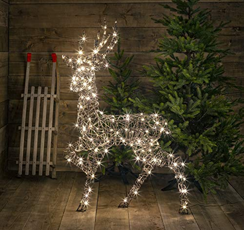Noma Standing Wicker Stag with 180 Warm White LED's Low Voltage, 1.4m