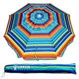 Ammsun 6.5 ft Outdoor Patio Beach Umbrella Sun Shelter Sahde with Tilt and Carry Bag UPF 50+ Multicolor Red