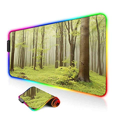 RGB Gaming Mouse Pad Mat,Misty Spring Beech Forest in The Mountains of Central Europe Wild Nature Picture Computer Keyboard Desk Mat,35.6'x15.7',for Game Players,Office,Study Green Beige