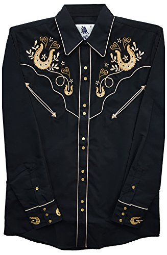Modestone Men's Embroidered Fitted Western Camicia Cowboy Horseshoes Hearts Black XL