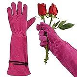 GLOSAV Rose Pruning Gloves for Women Gardening, Long Ladies Thorn Proof Garden Gloves (Medium, Rosy)