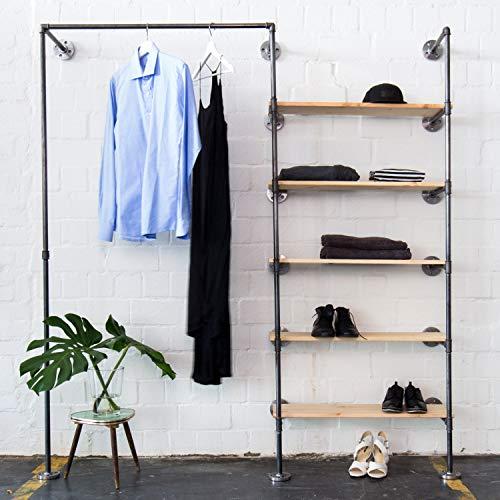 Various Kleiderschrank im Industrial Design - Kleiderständer, offener Schlafzimmer-Schrank & Wand-Garderobe im Flur - schwarz, stabil, Metall