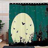 Duschvorhänge Duschvorhang Anti-Schimmel Halloween Fledermaus Anti-Bakteriell, Waschbar Badewanne Vorhang Polyester Stoff mit Duschvorhangringen 120 x 200 cm
