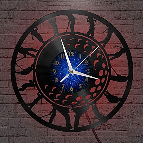 Maniobras estándar de Golf Tema Vinilo Registro Reloj de Pared, Reloj de Pared para la Cocina casa Sala de Estar Dormitorio Escuela(B, con LED) Wall Art Home Decoración Reloj de Pared Negro Vinilo