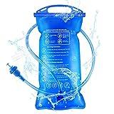 Idefair Vejiga de hidratación, vejiga de Agua de hidratación 1.5L / 2L / 3L Depósito de Agua portátil a Prueba de Fugas para Senderismo Camping Running Ciclismo