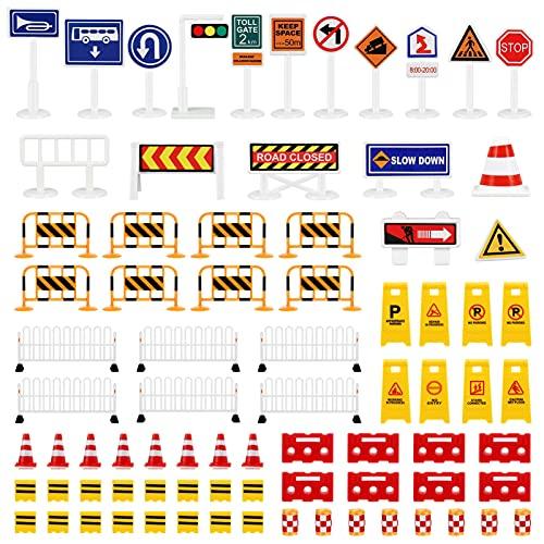 Toyvian 1 Set Spielen Verkehrs Zeichen Straße Straße Zeichen Spielset Verkehrs Zeichen Spielset Verkehrs Spielzeug Road Zeichen für Kinder ( 26Pcs Road Zeichen Und 54Pcs Zäune )