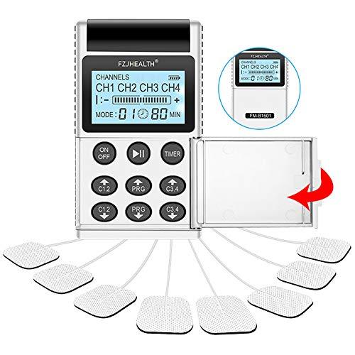LYHD Profesional TENS EMS 4 Canales Pantalla Digital Estimulador Muscular Masajeador Corporal Meridiano Máquina de Fisioterapia Electroestimulador Muscular de Relajación