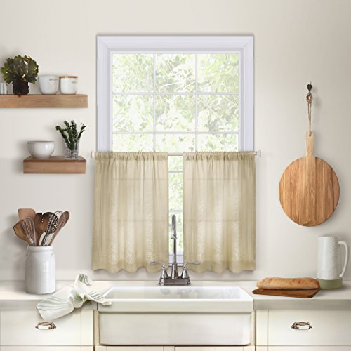 """Elrene Home Fashions Cameron Solid Hemstitched Rod Pocket Cafe/Kitchen Tier Window Curtain, 30"""" W x 24"""" L Each (Set of 2, Linen, 2 Count"""