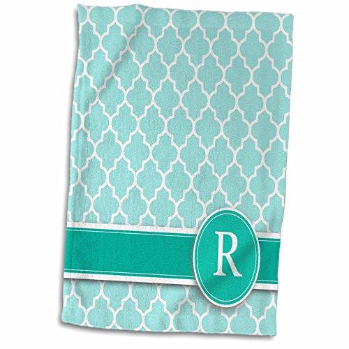 3D Rose Letter R Aqua Blue Quatrefoil Pattern Teal Turquoise Mint Monogrammed Personal Initial Towel, 15