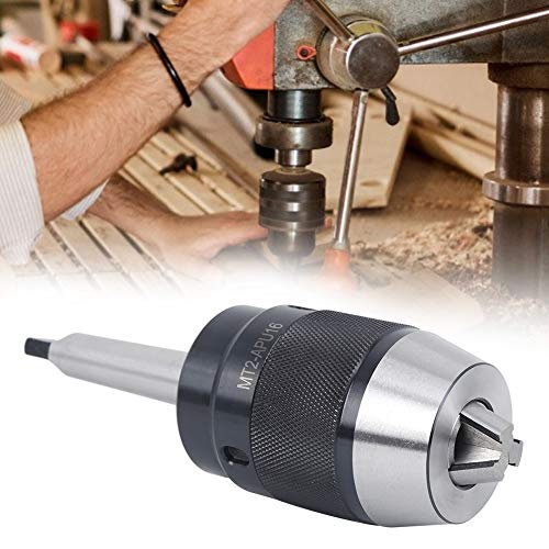Drill Chuck, Metal Made One-Piece Drill Chuck MT2-APU16 Partial Tail Speed Steel Material Chuck Key