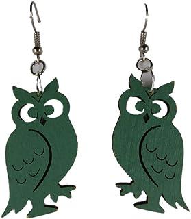 Star Ohrringe Hänger Ohrhänger Eule Holz blau Owl Vintage Upcycling 8340