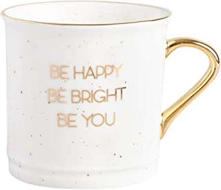 Inspirational Be Bright Be Happy Be You Large Gold Coffee Mug Tea Cup - 16 Ounce