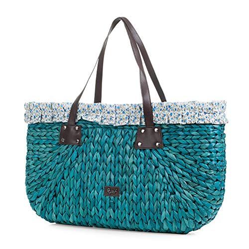 SKPAT - Bolso Capazo Grande de Mujer con Asas. Rafia y Estampado. para Playa o Compras en Verano. Bonito Cómodo Ligero y Práctico. Gran Capacidad. 09504, Color Azul
