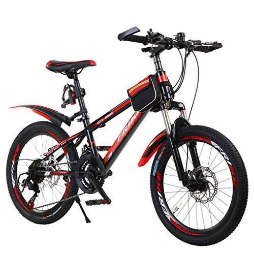 20-inch Student Mountain Bike High Carbon Steel Full Suspension Frame Bicycles BMX Bikes Anti-Slip Bikes Outroad Bike for Adults Teens (Black)