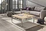 Couchtisch Wohnzimmertisch Mo Eiche Bianco 90x90 cm mit Ablage aus Glas Stabiler Massivholztisch aus Eichenholz auf gebürsteten Edelstahlfüssen.