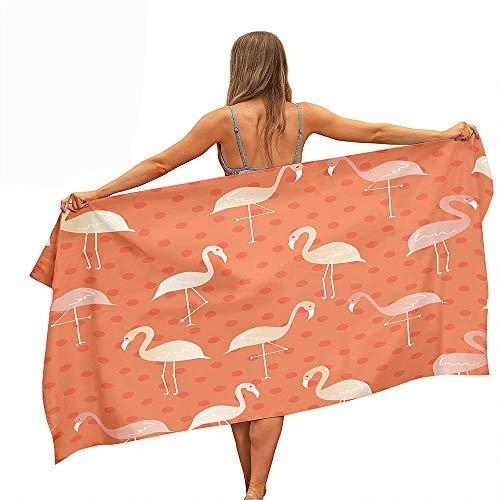 Fansu Toalla de Playa de Microfibra Rectangular Anti-Arena Secado Rápido, Toalla Verano Patrón de 3D Flamenco (Impresión a Una Cara) para Piscina de Viaje, Playa (Naranja,80x180cm)