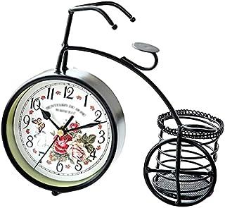 GJHK Porte-Stylo Pastoral rétro Porte-Stylo en Fer forgé Vélo Horloge silencieuse, Décoration de la Maison, Cadeau d'anniv...