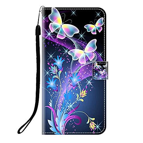 Sunrive Kompatibel mit Lenovo ZUK Z2/Z2 Plus Hülle,Magnetisch Schaltfläche Ledertasche Schutzhülle Etui Leder Hülle Handyhülle Tasche Schalen Lederhülle MEHRWEG(Q Schmetterling 2)