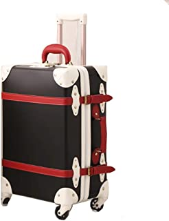 NJC Box Vintage Leather Eight-Wheeled Trolley Case Large Capacity Rural Style Suitcase Zipper Suitcase