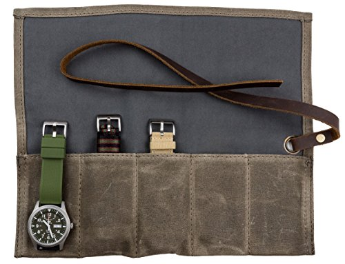 Barton Watch Roll - Waxed Canvas Watch Travel Case & Watch Band Storage