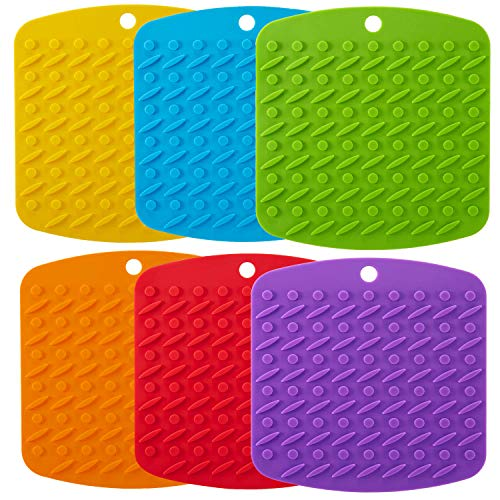 "Aibrisk Silicone Pot Holder - Silicone Trivets Mats for Hot Dishes Pot Holders Heat Resistant, Spoon Rest and Garlic Peeler Non Slip Multipurpose Kitchen Tool 7x7"" Potholders (Set of 6)"