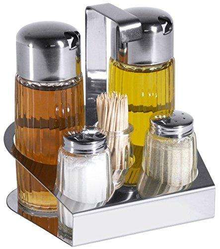 Contacto 444/005 - Menage 5-teilig Essig, Öl, Salz & Pfeffer & Zahnstocher