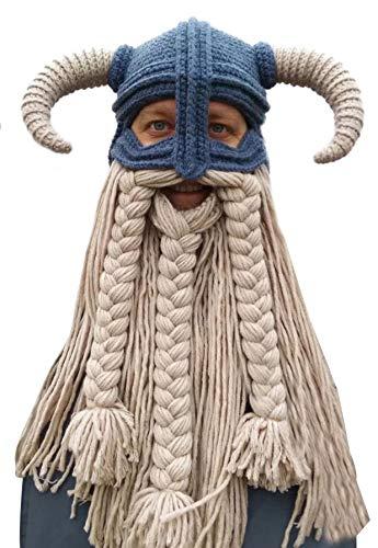 vannawong Gorro de punto para adultos, divertido y hecho a mano, resistente al viento, para esqu, snowboard, vikingo, vagabonado, Navidad, disfraz de caballo beige Talla nica