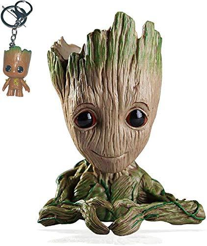 Udream Baby Groot Pot de Fleur - Figurine d'action Marvel de Guardians of The Galaxy pour Plantes et stylos - Parfait comme Cadeau - Je s'appelle BÉBÉ Groot (Forme de Coeur)