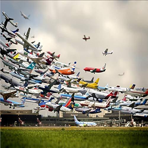 Pbbzl behang voor club, hotel, café, landschap, vliegtuig, gebouwen, modern, stereo, stuur 200 x 140 cm