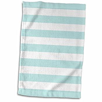 3D Rose Mint and White Pattern-Retro Nautical-Pastel Turquoise Teal Aqua Sea Blue Green Stripes Towel 15  x 22