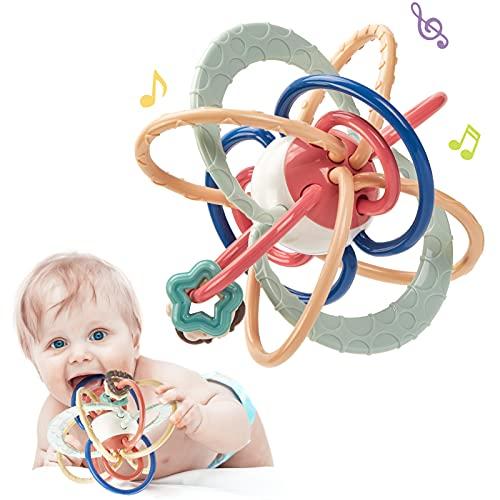 CubicFun Baby Rassel und Sensorische Beißring Ball für ab 0 3 6 Monate Beißringspielzeug für Baby Backenzähne für Kleinkind Jungen Mädchen, BPA-freie