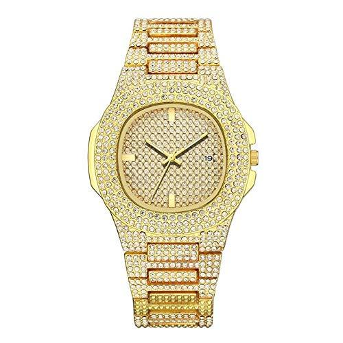 JZDH Relojes para Mujer Relojes de Mujer Reloj de Calendario Exquisito de Acero Inoxidable Mujeres Rhinestone Luxury Casual Quartz Watch Relojes Mujer Relojes Decorativos Casuales para Niñas Damas