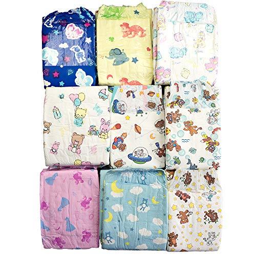 Musterpaket bunte Windeln mit Folie für Erwachsene - 9 x 2 = 18 Windeln