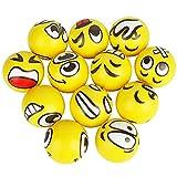 12 pelotas antiestrés, diseño de emoji con caras divertidas, para niños y adultos, color amarillo
