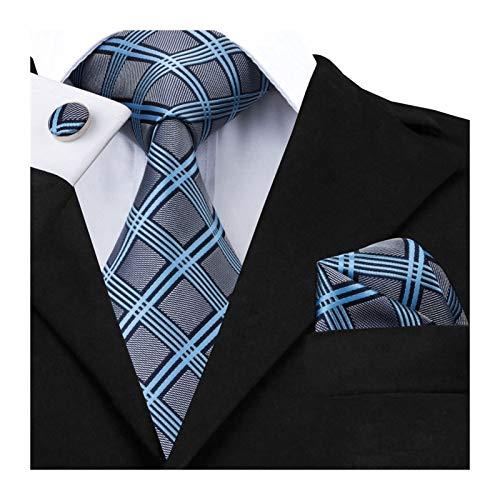 Without Corbatas Lazos para Hombres Nueva Visita de Moda Negro Plaid 100% de Seda de los Hombres Lazos Corbata 8,5 cm for los Hombres de Calidad Formal de Boda de Lujo (Color : 14)