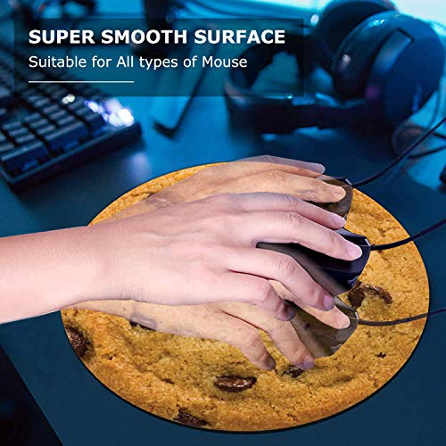 Round Mouse Pad and Coasters Set, Giant Chocolate Chip Cookie Mousepad, Anti Slip Rubber Round Mousepads Desktop Notebook Mouse Mat for Working and Gaming Photo #6