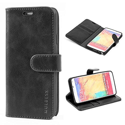 Mulbess Handyhülle für Samsung Galaxy Note 3 Hülle Leder, Samsung Galaxy Note 3 Handy Hüllen, Vintage Flip Handytasche Schutzhülle für Samsung Galaxy Note 3 Case, Schwarz