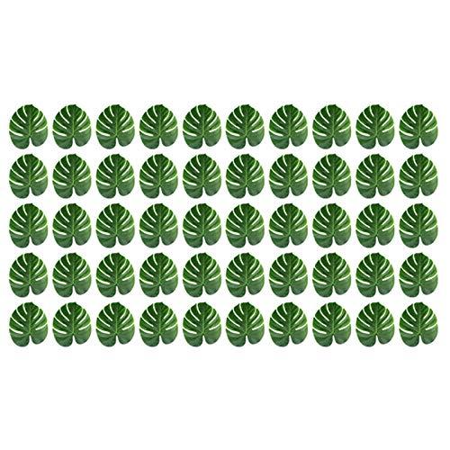 Sundey 50 Piezas de Hojas de Palmeras Tropicales Grandes - Artificiales, 13.8 Pulgadas X 11.4 Pulgadas para Decoraciones de Fiesta TemáTica Luau Jungle Hawaii