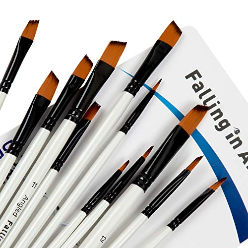Falling in Art Paint Brushes Set, 12 PCS Nylon Professional Angled Paint Brushes for Watercolor, Oil Painting, Acrylic, Face Body Nail Art, Crafts, Rock Painting