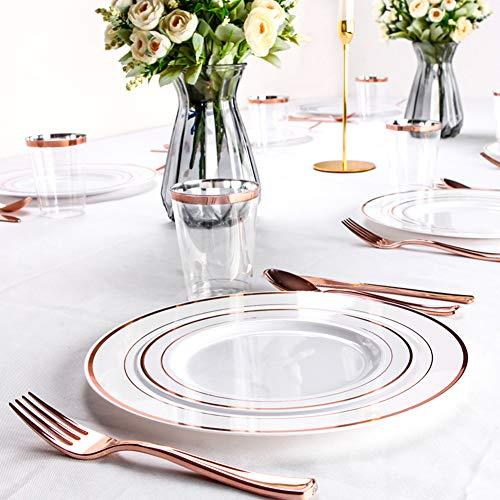 Kunststoff-dinner-teller Einweg Geschirr Set Für 25 Gäste,Einweg-platten Gabeln Messer Löffel Tassen Tassen,150 Stk Wiederverwendbare Geschirr Für Parteien Hochzeit B