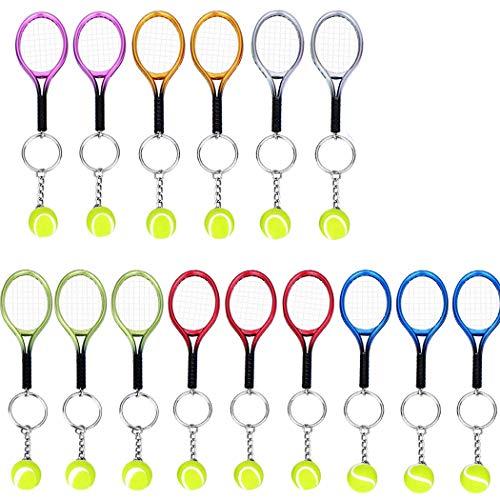 CREATIEE-PRO 15Pcs Mini Tennis Racket Keychain Key Ring Tennis Ball Ring