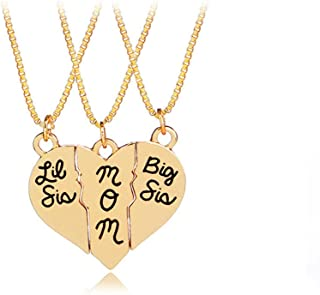 3pcs Big Sis Lil Sis Mom Sister Necklace Little Sister Mom Big Sister Matching Pendant Necklace Gifts for Mother Sister Daughter Gold