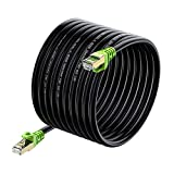 Outdoor Cat 7 Ethernet Cable 130ft, 26AWG Heavy-Duty Cat7 Networking Cord Patch Cable RJ45 Transmission Speed 10GbpsTransmission Bandwidth 600Mhz LAN Wire Cable SFTP Waterproof Direct Burial