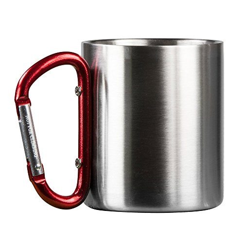 Life Gear Stainless Steel Double Walled Mug with Carabiner Handle - Portable Rockclimbing, Hiking, Backpacking or Camping Travel Cup 10 oz