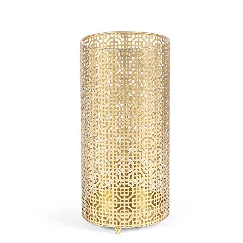 Edeco Metal Round Umbrella Stand Umbrella Holder Home Office Decor with Drip Tray (Gold)