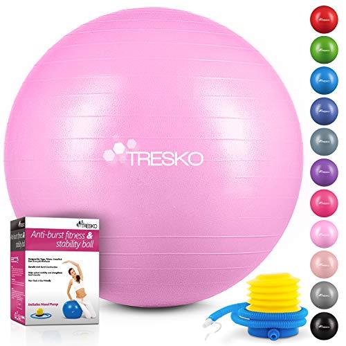 TRESKO Anti-Burst Gymnastikball 55cm 65cm 75cm 85cm | Sitzball | Yogaball | 300 kg | mit Luftpumpe (Princess-Pink, 75cm (für Körpergröße 175-185cm))
