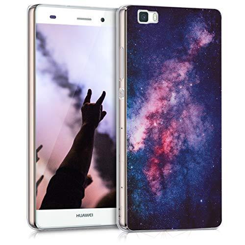 kwmobile Huawei P8 Lite (2015) Hülle - Handyhülle für Huawei P8 Lite (2015) - Handy Case in Galaxie Sterne Design Rosa Pink Dunkelblau