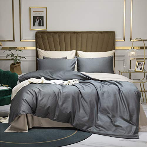 60S Satin Long-Staple Cotton Bed Sheet Four-Piece, Luxurious Satin Double-Sided Bedding, Solid Color, Fade Resistant And Machine Washable Flat Sheet Bed Sheet